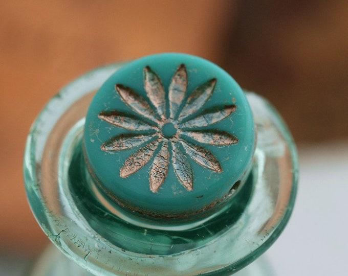 PINK TEAL ASTER .. 4 Premium Picasso Czech Glass Flower Coin Beads 12mm (7841-4)