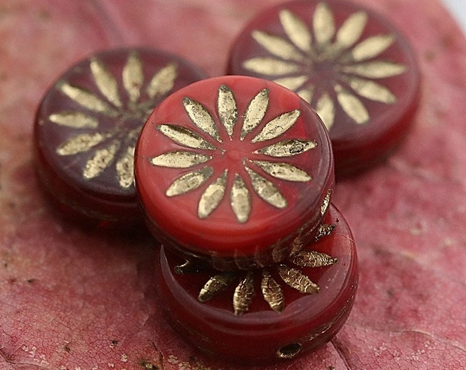 GOLDEN CHERRY ASTER .. 4 Premium Picasso Czech Glass Flower Coin Beads 12mm (7840-4)