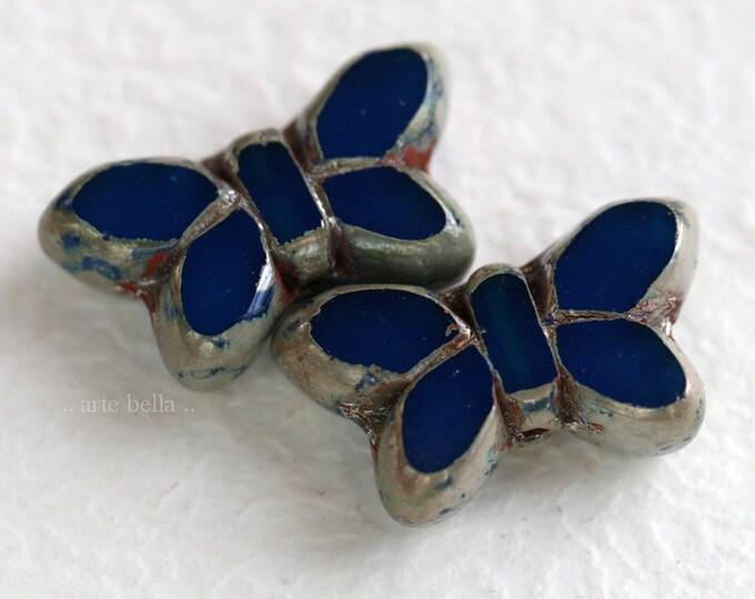 CAPRI FLUTTERS .. New 2 Premium Picasso Czech Glass Butterfly Beads 19x10mm (6993-2)