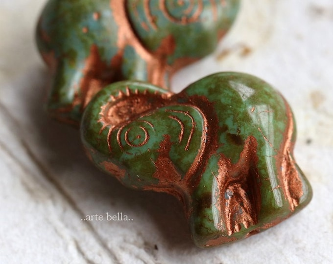 COPPER MOSS ELLE .. New 2 Premium Picasso Czech Glass Elephant Beads 20x23mm (7230-2)