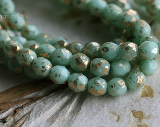 sale .. GILDED MINTS 6mm .. 25 Premium Picasso Czech Faceted Glass Beads 6mm (6046-st)