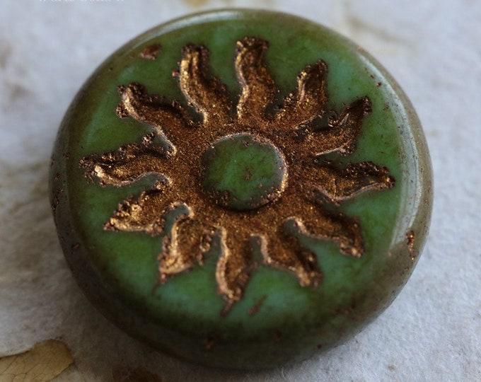 GOLDEN MOSS RAYS .. 1 Premium Picasso Czech Glass Sun Coin Bead 22mm (6689-1)