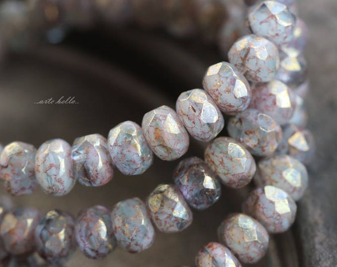 HUSH BABIES No. 1 .. 30 Premium Picasso Czech Faceted Rondelle Beads 3x5mm (5866-st)