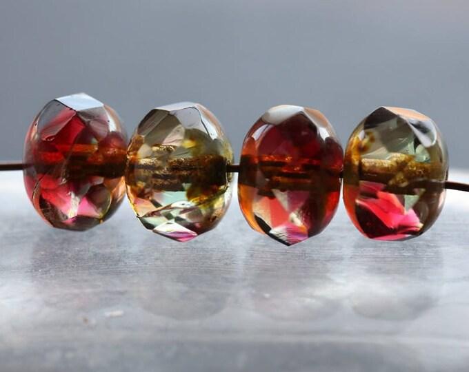 FUCHSIA No. 2 .. 10 Premium Picasso Czech Rondelle Glass Beads 6x8mm (6101-10)