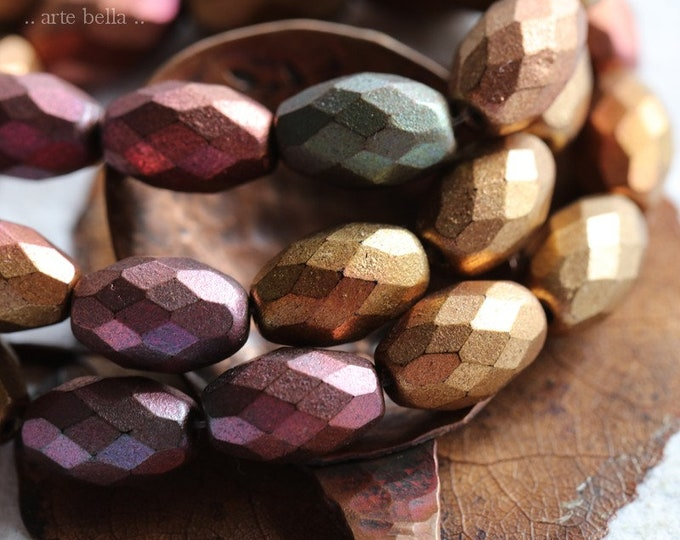 METALLIC MIX OLIVES No. 2 .. New 12 Premium Czech Glass Faceted Oval Beads 12x8mm (8309-st)