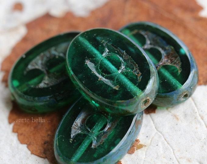 DEEP WATER DOTS .. 4 Premium Picasso Czech Glass Oval Beads 18x12mm (7158-4)