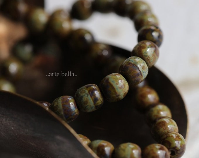 sale .. OLIVE AMBER MARBLES 4mm .. 45 Premium Picasso Czech Glass Druk Glass Beads (6476-st)