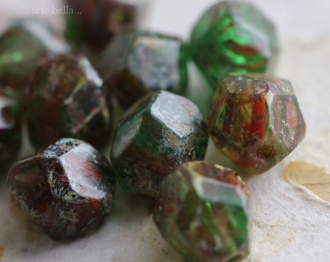 TREE FROG NUGGETS .. 10 Premium Picasso Czech Glass Faceted Beads 8mm (3810-10)