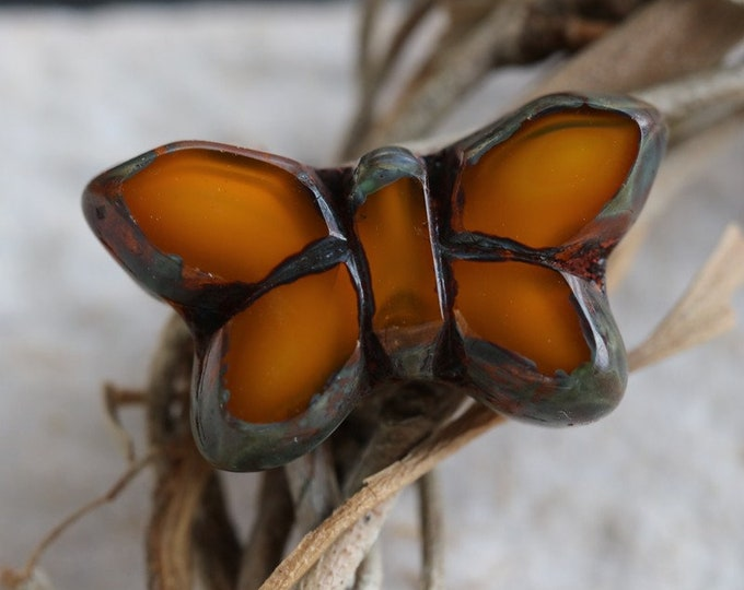 MONARCH FLUTTERS .. 2 Premium Picasso Czech Glass Butterfly Beads 19x10mm (7005-2)