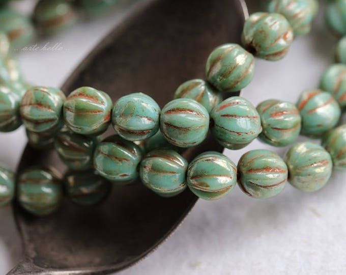 TURQUOISE MELONS .. 25 Premium Picasso Czech Melon Beads 6mm (5784-st)