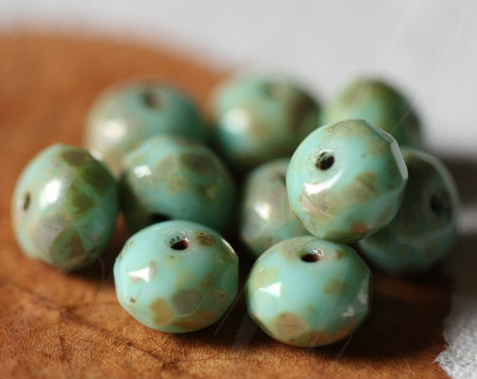 sale .. TURQUOISE MAGIC .. 10 Picasso Czech Glass Rondelle Beads 6x8mm (2907-10)