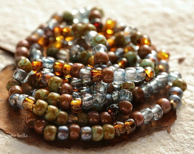 "EARTHY BLUE ICE Seeds .. New 20"" Premium Picasso Luster Czech Glass Seed Bead Mix Size 6/0 (8853-st)"