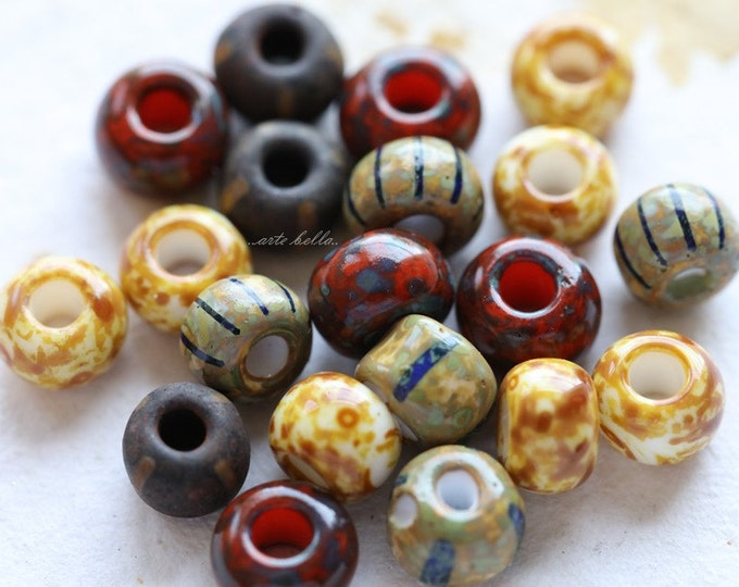 SEED BEAD MIX No. 5148 .. 20 Premium Picasso Czech Glass Striped Seed Bead Mix Size 1/0 (5148-20)
