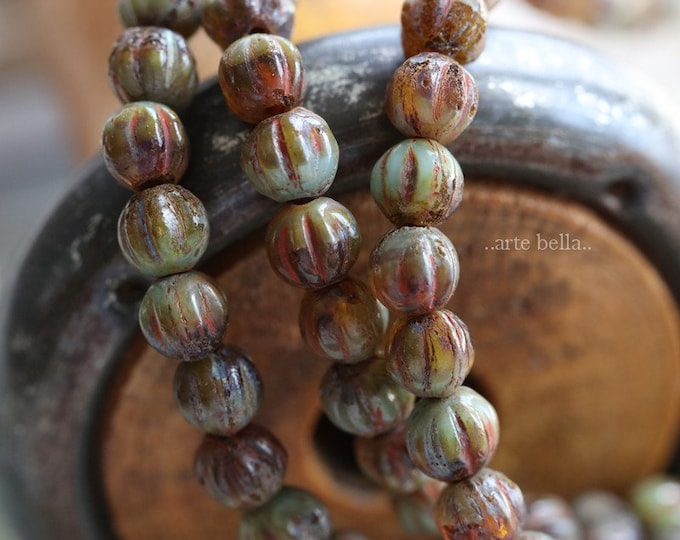 AGED TORTOISE MELONS 4mm .. 50 Premium Picasso Czech Glass Melon Beads (6284-st)