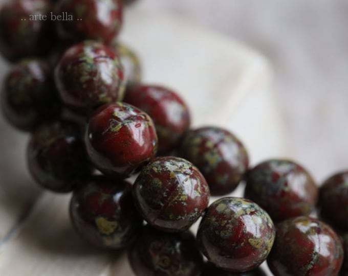 sale .. MAROON MARBLES .. 25 Picasso Czech Druk Glass Beads 6mm (6063-st)