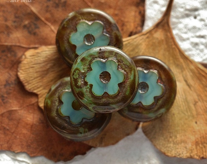 EARTHY LAGOON BLOSSOMS .. New 4 Premium Picasso Czech Glass Flower Beads 14mm (8860-4)