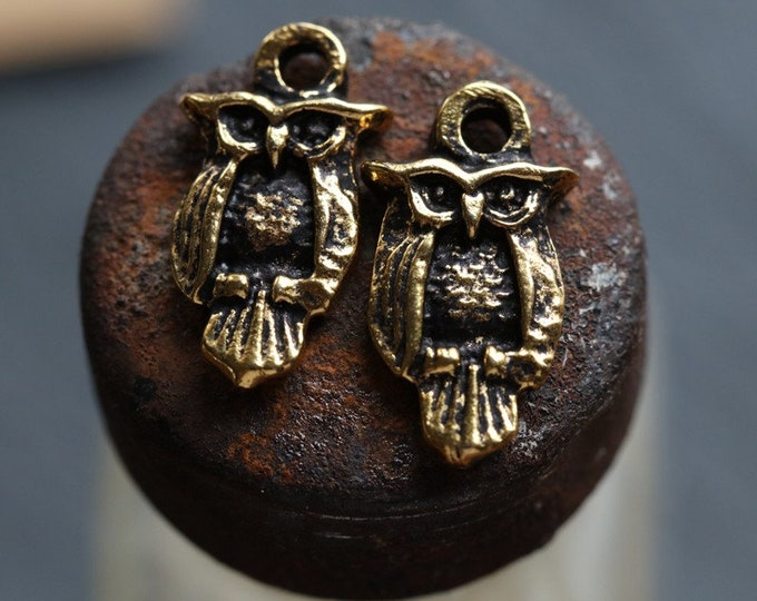 ANTIQUE GOLD Hoo Hoo .. 2 Mykonos Greek Owl Charms 16x8mm (M229-2)