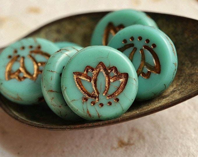 BRONZE TURQUOISE LOTUS Blooms No. 2 .. New 6 Premium Czech Matte Glass Lotus Coin Beads 14mm (8881-6)