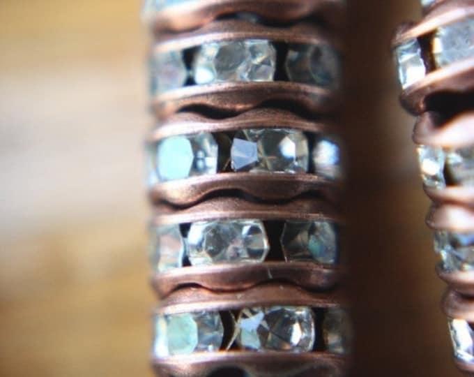 6mm Copper Czech Crystal Rhinestone Rondelles x 10 (rhi-01/10)