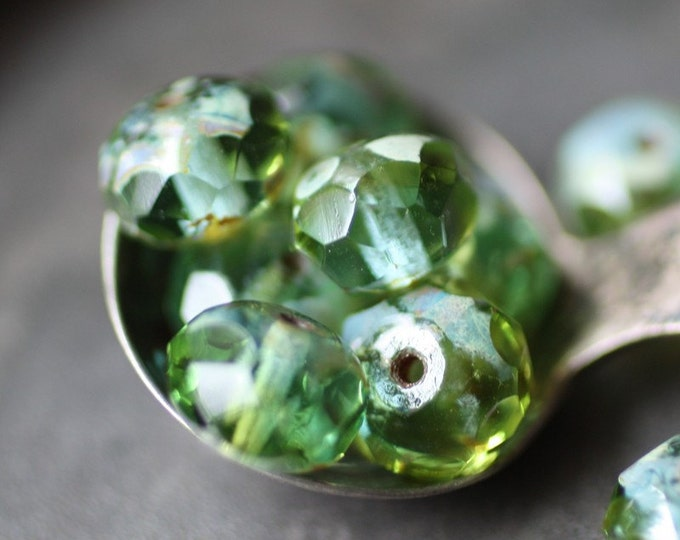LUSH MEADOW .. 10 Premium Picasso Czech Glass Rondelle Beads 6x8mm (2258-10)