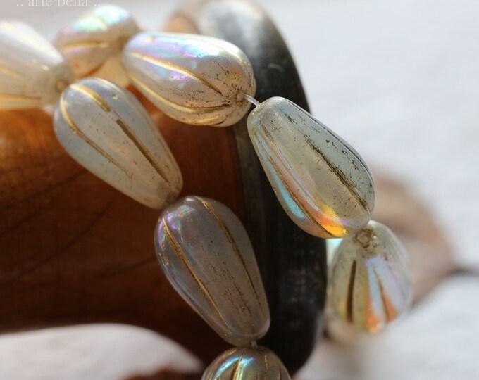 GOLDEN MYSTIC GRAY Melon Drops .. 10 Premium Czech Glass Melon Drop Beads 15x8mm (8445-st)
