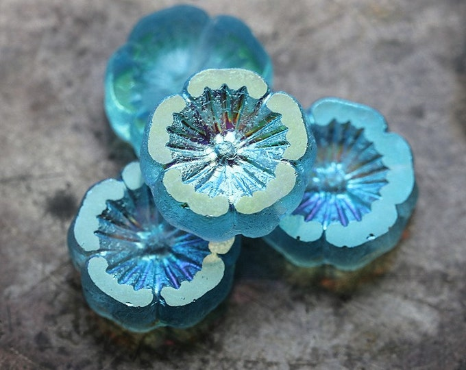 MYSTIC SKY PANSY .. 4 Premium Aurora Borealis Czech Glass Flower Beads 14mm (8171-4)