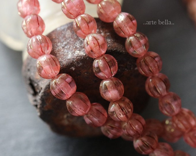 GILDED PINK MELONS 4mm .. 50 Premium Picasso Czech Glass Melon Beads (6282-st)