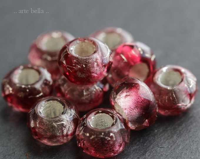 SILVERED SANGRIA ROLLERS .. 10 Premium Picasso Czech Glass Large Hole Roller Beads 6x9mm (6312-10)