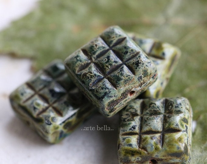 MOSSY TWILIGHT SQUARES .. 4 Premium Picasso Czech Glass Square Beads 13mm (7603-4)