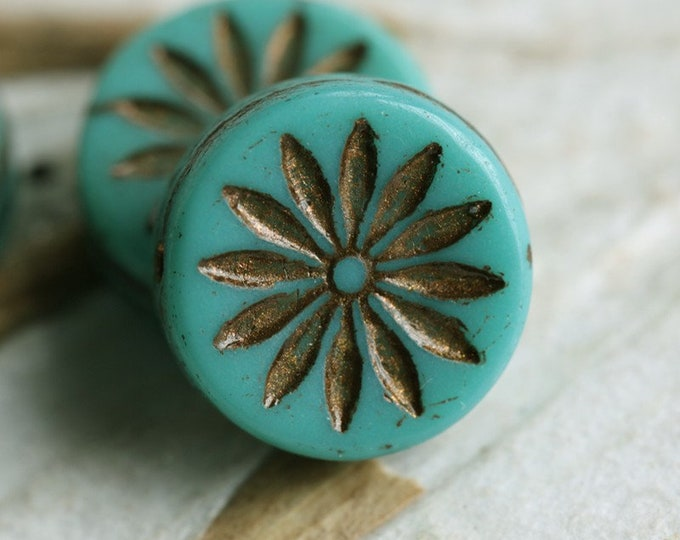 BRONZED TEAL ASTER .. 4 Premium Picasso Czech Glass Flower Coin Beads 12mm (7838-4)