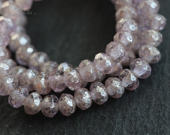 SILVERED LILAC MIST Babies .. 30 Premium Czech Glass Faceted Rondelle Beads 3x5mm (7298-st)
