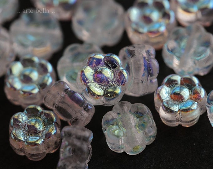FAIRY POSIES 6mm .. 20 Premium Czech Glass Flower Aurora Borealis Bead (6631-20)
