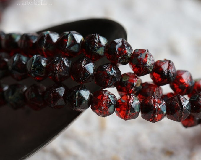 RUBY TREASURES 4mm .. 50 Premium Picasso Czech Glass English Cut Beads (6545-st)
