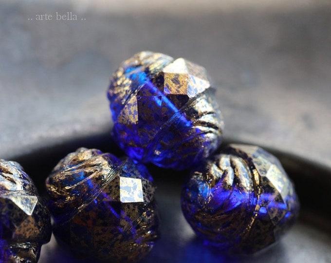 GILDED SAPPHIRE PLUMPS .. New 4 Premium Picasso Czech Glass Turbine Beads 13x15mm (6804-4)