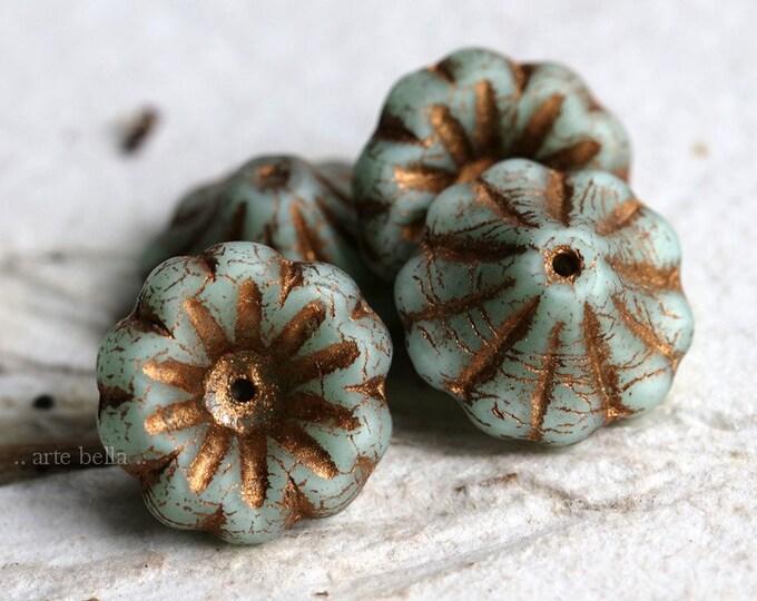 BRONZED SAGE LILIES .. New 4 Premium Matte Czech Glass Flower Beads 15x8mm (7133-4)