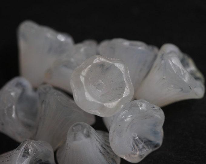 WHITE BELLS .. 10 Premium Czech Glass Flower Beads 11x10mm (6579-10)