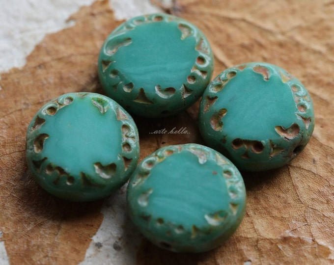 sale .. SLICED TURQUOISE .. 4 Picasso Czech Glass Coin Beads 14x5mm (2418-4)