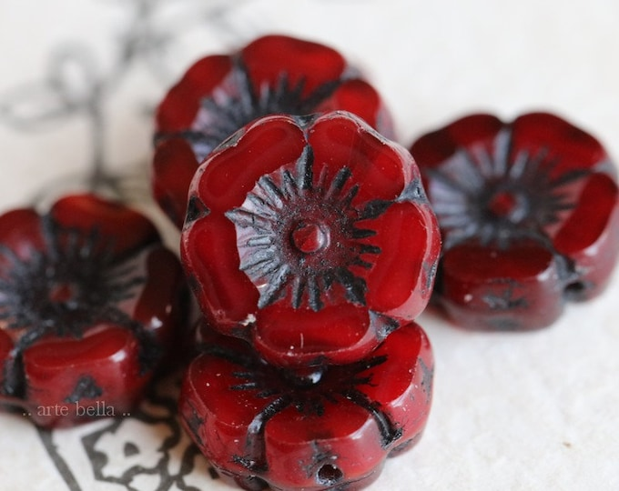 BLACK CHERRY PANSY .. 6 Premium Picasso Czech Glass Flower Beads 12mm (7719-6)