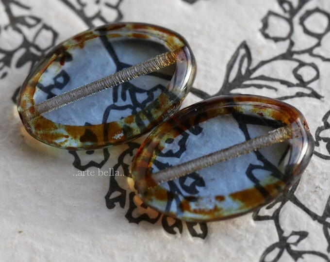 SAPPHIRE STONES .. 2 Premium Picasso Czech Glass Oval Beads 20x14mm (7594-2)
