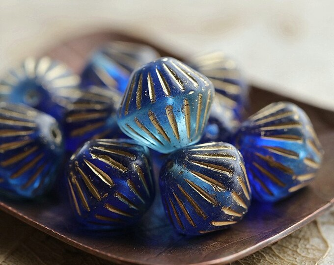 GOLDEN PACIFIC TUTUS .. New 10 Premium Czech Glass Fluted Bicone Beads 11mm (8809-10)