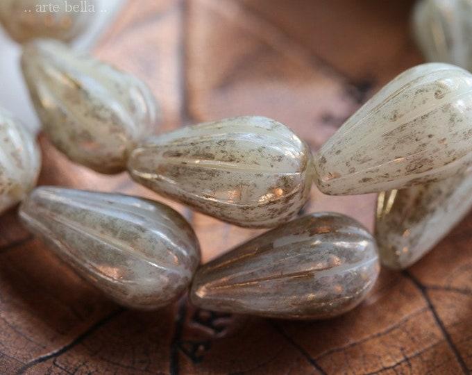 ANTIQUE GOLD IVORY Melon Drops .. 10 Premium Picasso Czech Glass Melon Drop Beads 13x8mm (7982-st)