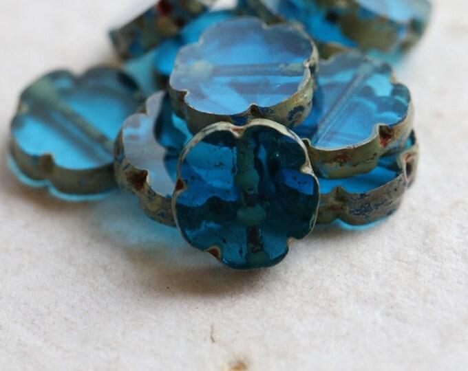 CAPRI BLOOMS .. New 10 Premium Picasso Czech Glass Flower Beads 10mm (8139-10)