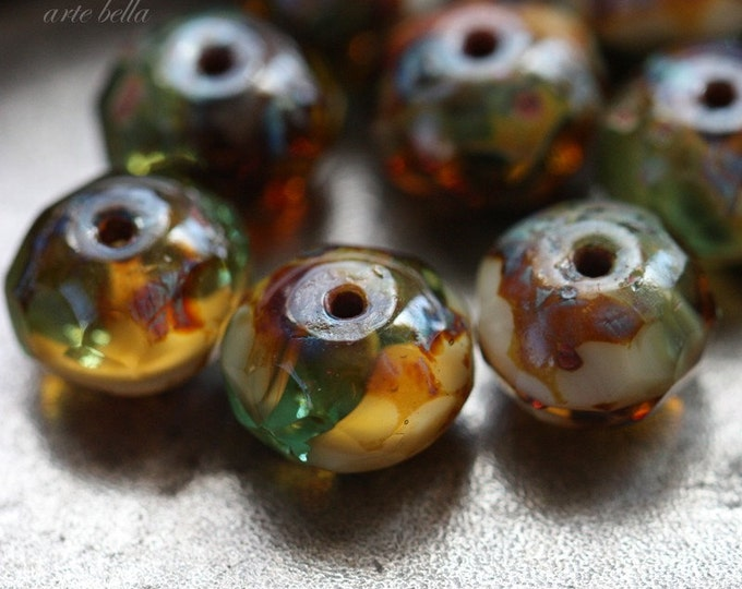RIVER WILD .. 10 Picasso Czech Rondelle Beads 6x8mm (3603-10)