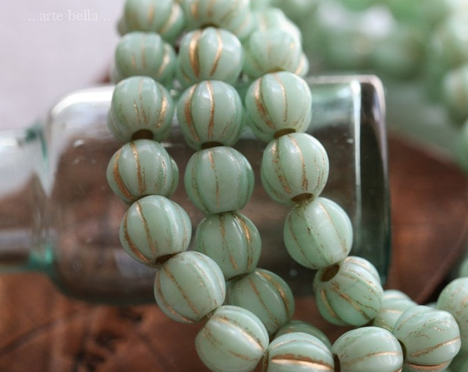 GOLDEN MINT MELONS 6mm .. New 25 Premium Large Hole Czech Glass Melon Beads (8081-st)