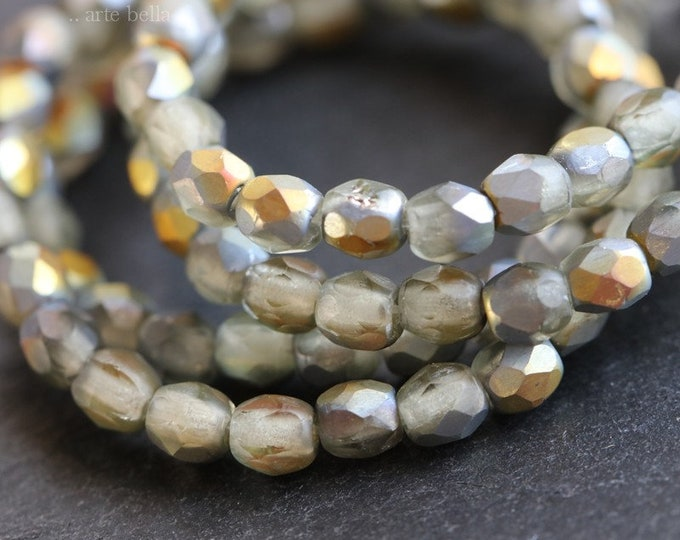 MYSTIC SMOKE BITS 3mm .. 50 Premium Matte Faceted Czech Glass Beads 3mm (6597-st)