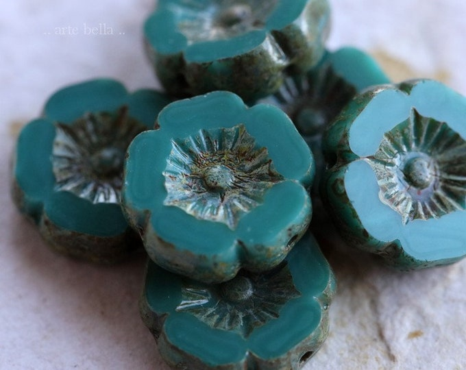TEAL PANSY 12mm .. 6 Premium Picasso Czech Glass Flower Beads 12mm (6864-6)