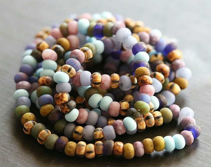 "MATTE MAJESTIC SEED Mix No. 8358 .. 20"" Premium Picasso Matte Czech Glass Bead Mix Size 8/0 (8358-st)"