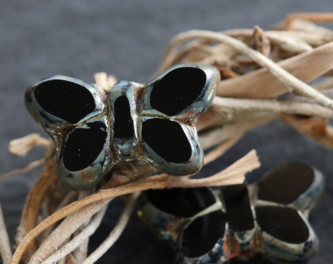 EBONY FLUTTERS .. 2 Premium Picasso Czech Glass Butterfly Beads 19x10mm (6990-2)