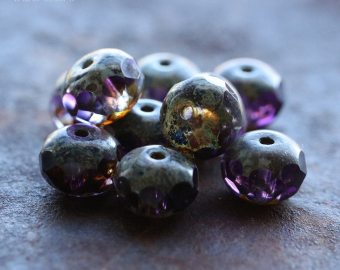CRUSHED GRAPE PEBBLES .. New 10 Premium Picasso Czech Glass Rondelle Beads 5x7mm (7661-10)