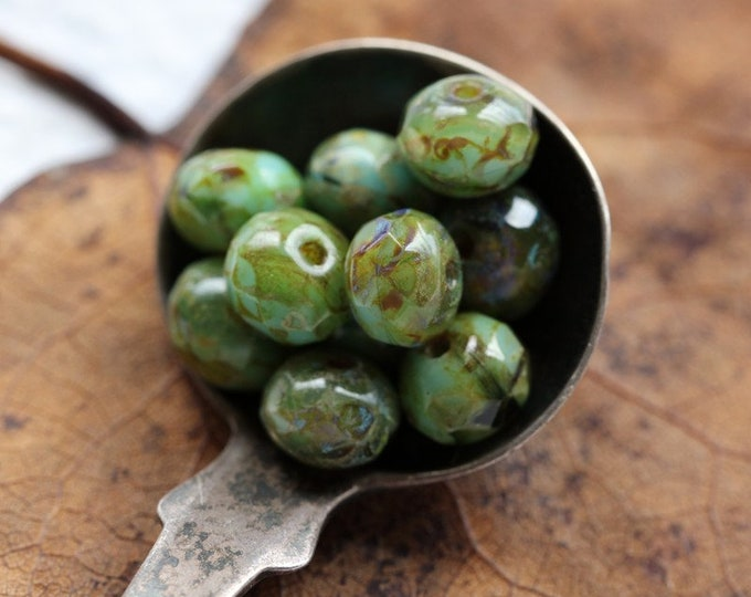 MOSSY SKY TOTS .. 10 Premium Picasso Czech Glass Rondelle Beads 7x5mm (8197-10)